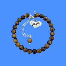 Load image into Gallery viewer, Nana Gift - Nana Present - Nana Jewelry, handmade nana natural gemstone charm bracelet, shades of brown and black (tiger's eye) or custom color