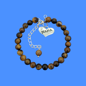 Nana Gift - Nana Present - Nana Jewelry, handmade nana natural gemstone charm bracelet, shades of brown and black (tiger's eye) or custom color