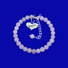 Load image into Gallery viewer, Nana Gift - Nana Present - Nana Jewelry, handmade nana natural gemstone charm bracelet, pink (rose quartz) or custom color