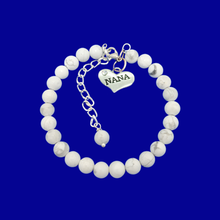 Load image into Gallery viewer, Nana Gift - Nana Present - Nana Jewelry, handmade nana natural gemstone charm bracelet, shades of white and grey (white howlite) or custom color
