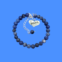 Load image into Gallery viewer, Nana Gift - Nana Present - Nana Jewelry, handmade nana natural gemstone charm bracelet, shades of blue (blue vein) or custom color
