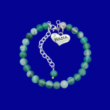 Load image into Gallery viewer, Nana Gift - Nana Present - Nana Jewelry, handmade nana natural gemstone charm bracelet, shades of green (green fantasy agate) or custom color