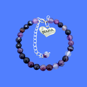 handmade nana natural gemstone charm bracelet, shades of purple (purple agate) or custom color