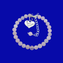 Load image into Gallery viewer, Gift Ideas For Friends - Friend Gift - Best Friend Gift, handmade best friend rose quartz charm bracelet, custom color