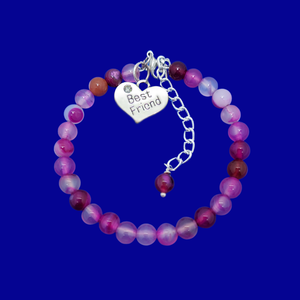 Gift Ideas For Friends - Friend Gift - Best Friend Gift, handmade best friend charm bracelet, (rose line agate) shades of pink or custom color