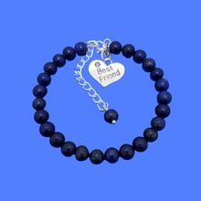 Load image into Gallery viewer, Gift Ideas For Friends - Friend Gift - Best Friend Gift, handmade best friend charm bracelet, (lapis lazuli) dark blue or custom color