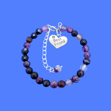 Load image into Gallery viewer, Gift Ideas For Friends - Friend Gift - Best Friend Gift, handmade best friend charm bracelet, (purple agate) shades of purple custom color