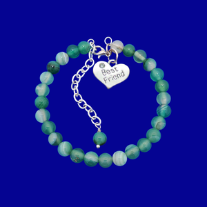 Gift Ideas For Friends - Friend Gift - Best Friend Gift, handmade best friend charm bracelet, (green fantasy agate) shades of green or custom color