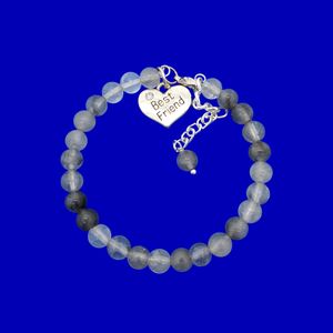 Gift Ideas For Friends - Friend Gift - Best Friend Gift, handmade best friend charm bracelet, (ghost crystals) shades of grey or custom color