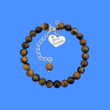 Load image into Gallery viewer, Gift Ideas For Friends - Friend Gift - Best Friend Gift, handmade best friend charm bracelet, (tiger's eye) shades of brown or custom color