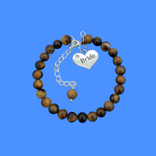 Load image into Gallery viewer, handmade bride natural gemstone charm bracelet (tiger's eye) shades of brown or custom color