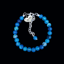 Load image into Gallery viewer, handmade bride natural gemstone charm bracelet, shades of blue (blue lines agate) or custom color