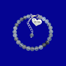 Load image into Gallery viewer, handmade bride natural gemstone charm bracelet (ghost crystals) shades of grey or custom color