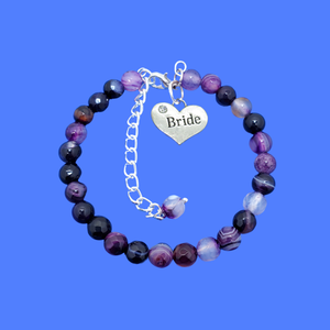 handmade bride natural gemstone charm bracelet (purple agate) shades of purple or custom color