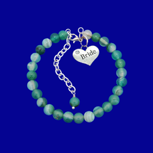 Load image into Gallery viewer, handmade bride natural gemstone charm bracelet (green fantasy agate) shades of green or custom color