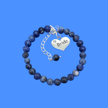 Load image into Gallery viewer, handmade bride natural gemstone charm bracelet (blue vein) shades of blue or custom color