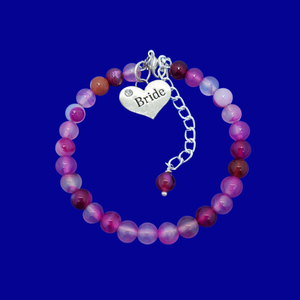 handmade bride natural gemstone charm bracelet (rose line agate) shades of pink or custom color