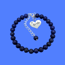 Load image into Gallery viewer, handmade bride natural gemstone charm bracelet (lapis lazuli) dark blue or custom color