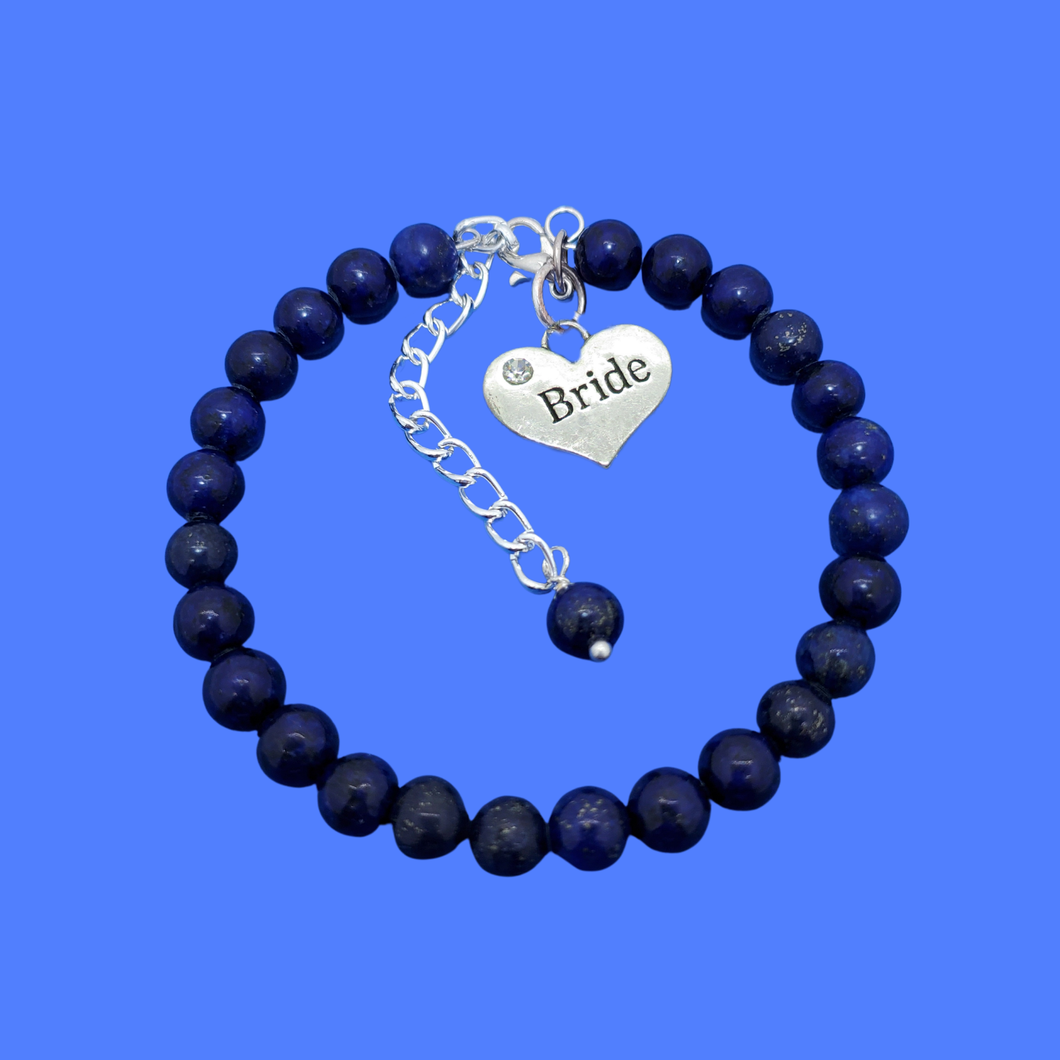 handmade bride natural gemstone charm bracelet (lapis lazuli) dark blue or custom color