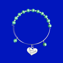 Load image into Gallery viewer, Best Friend Bracelet - Friend Bracelet - Best Friend Gift , best friend handmade silver accented expandable pearl bracelet, green or custom color
