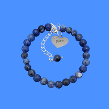 Load image into Gallery viewer, handmade mum natural gemstone expandable charm bracelet, shades of blue (blue vein) or custom color