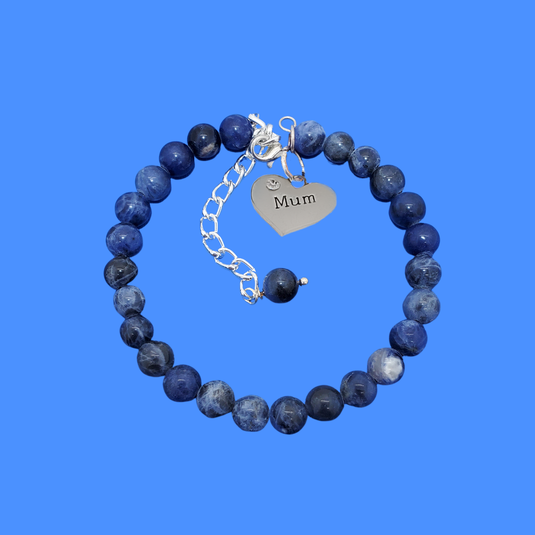 handmade mum natural gemstone expandable charm bracelet, shades of blue (blue vein) or custom color