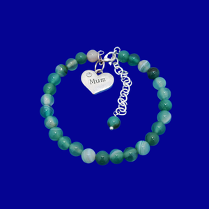 handmade mum natural gemstone expandable charm bracelet, shades of green (green fantasy agate) or custom color