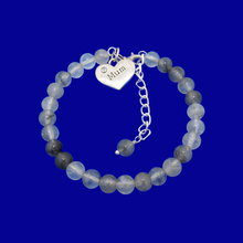 Load image into Gallery viewer, handmade mum natural gemstone expandable charm bracelet, shades of grey (ghost crystals) or custom color