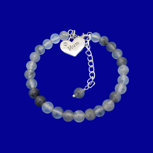 handmade mum natural gemstone expandable charm bracelet, shades of grey (ghost crystals) or custom color