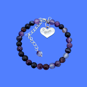 handmade mum natural gemstone expandable charm bracelet, shades of purple (purple agate) or custom color