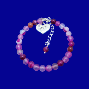 handmade mum natural gemstone expandable charm bracelet, shades of pink (rose line agate) or custom color