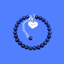Load image into Gallery viewer, handmade mum natural gemstone expandable charm bracelet, dark blue (blue vein) or custom color