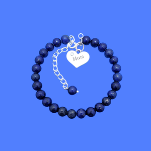 handmade mum natural gemstone expandable charm bracelet, dark blue (blue vein) or custom color