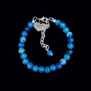 handmade mum natural gemstone expandable charm bracelet, shades of blue (blue lines agate) or custom color