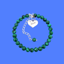 Load image into Gallery viewer, handmade mum natural gemstone expandable charm bracelet, shades of green with black stripes (green malachite) or custom color