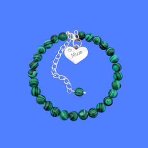 handmade mum natural gemstone expandable charm bracelet, shades of green with black stripes (green malachite) or custom color