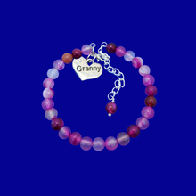 Load image into Gallery viewer, Granny Gift - Granny Present - Great Granny Gifts- Handmade Granny natural gemstone charm bracelet, shades of pink (rose line agate) custom color
