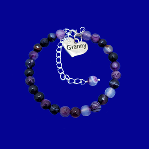 Granny Gift - Granny Present - Great Granny Gifts- Handmade Granny natural gemstone charm bracelet, shades of purple (purple agate) custom color