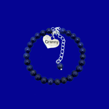 Load image into Gallery viewer, Granny Gift - Granny Present - Great Granny Gifts- Handmade Granny natural gemstone charm bracelet, dark blue (lapis lazuli) custom color