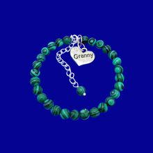Load image into Gallery viewer, Granny Gift - Granny Present - Great Granny Gifts- Handmade Granny natural gemstone charm bracelet, shades of green and black stripes (green malachite) custom color