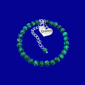 Granny Gift - Granny Present - Great Granny Gifts- Handmade Granny natural gemstone charm bracelet, shades of green and black stripes (green malachite) custom color