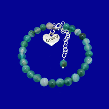 Load image into Gallery viewer, Granny Gift - Granny Present - Great Granny Gifts- Handmade Granny natural gemstone charm bracelet, shades of green (green fantasy agate) custom color