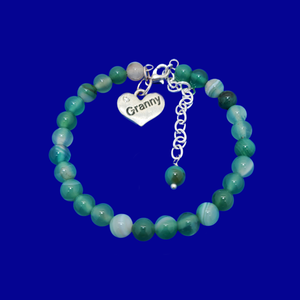 Granny Gift - Granny Present - Great Granny Gifts- Handmade Granny natural gemstone charm bracelet, shades of green (green fantasy agate) custom color
