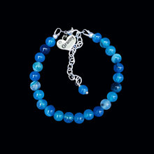 Load image into Gallery viewer, Granny Gift - Granny Present - Granny Bracelet, handmade granny natural gemstone charm bracelet, shades of blue (blue lines agate) or custom color