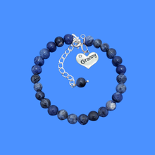 Load image into Gallery viewer, Granny Gift - Granny Present - Granny Bracelet, handmade granny natural gemstone charm bracelet, shades of blue (blue vein) or custom color