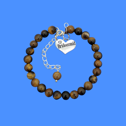 handmade bridesmaid natural gemstone charm bracelet (tiger's eye) shades of brown or custom color