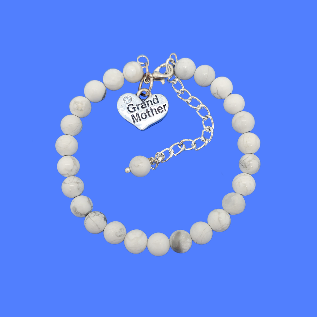 grand mother natural gemstone charm bracelet, (white howlite) shades of grey and white or custom color