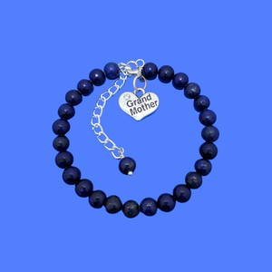 handmade grand mother charm bracelet, (lapis lazuli) dark blue or custom color