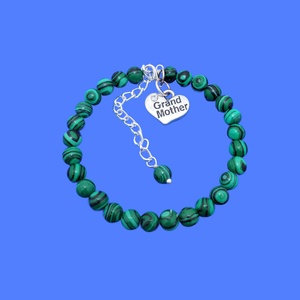 handmade grand mother charm bracelet, (green malachite) green and black stripe or custom color