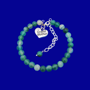 handmade grand mother charm bracelet, (green fantasy agate) shades of green or custom color